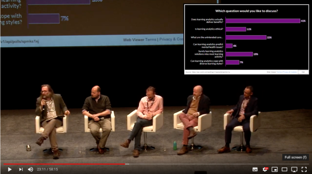 Photo of panellists discussing learning analytics at Digifest 2019